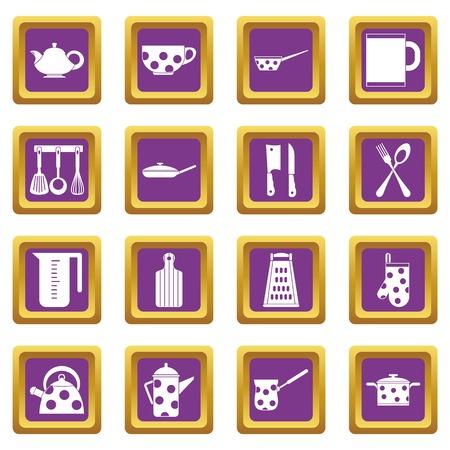 Kitchen tools and utensils icons set purple Illustration
