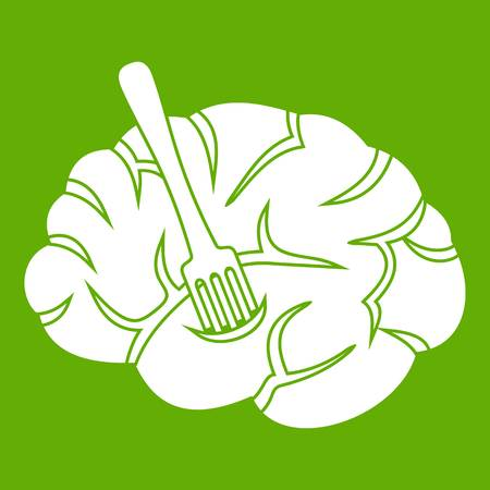 Fork is inserted into the brain icon green Illustration