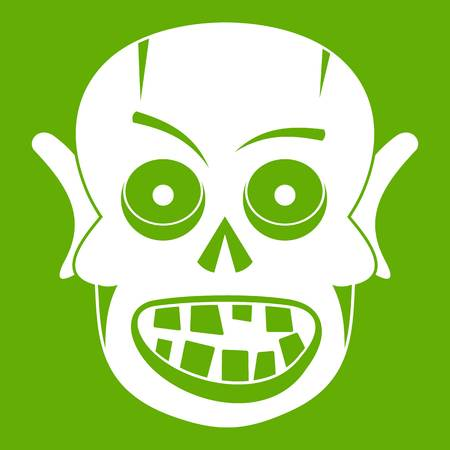 Living dead icon white isolated on green background. Vector illustration Illustration