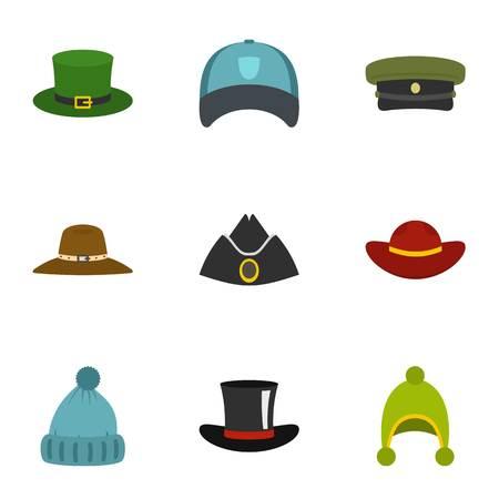 Hat wear icon set, flat style