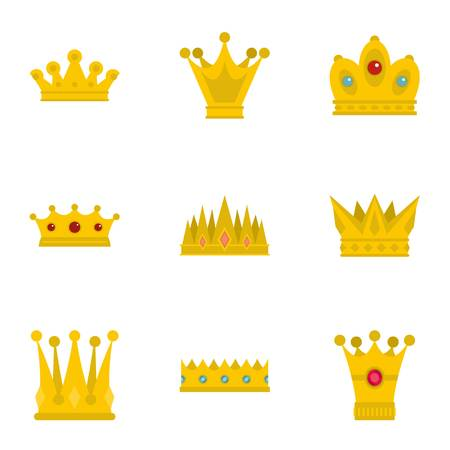 Majestic crown icon set. Flat set of 9 majestic crown vector icons for web isolated on white background