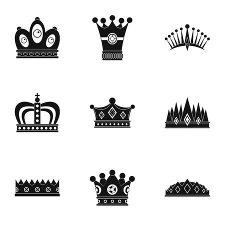 貴族の王冠アイコン セット、シンプルなスタイル