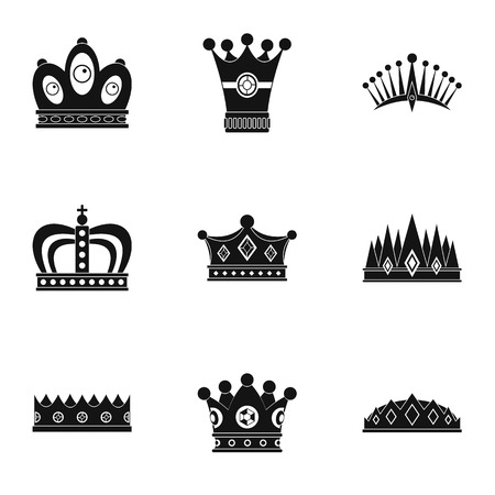 Nobility crown icon set, simple style