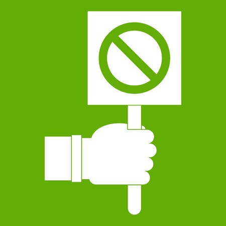 Hand showing stop signboard icon green Illustration