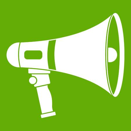 volume control: Megaphone icon white isolated on green background. Vector illustration
