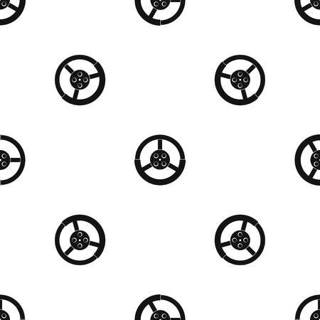 Steering wheel pattern repeat seamless in black color for any design. Vector geometric illustration