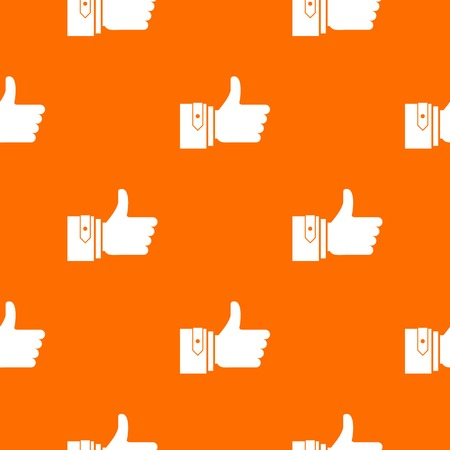 accomplish: Thumbs up pattern repeat seamless in orange color for any design. Vector geometric illustration