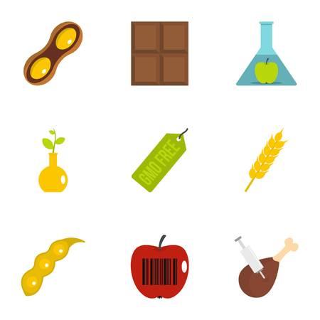 Biotechnology icon set. Flat set of 9 biotechnology vector icons for web isolated on white background