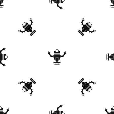 funny robot: Robot on wheels pattern seamless black