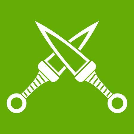 ninja tool: Crossed japanese daggers icon green