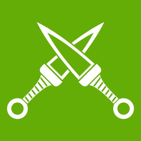 Crossed japanese daggers icon green