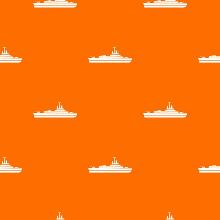 Warship pattern repeat seamless in orange color for any design. Vector geometric illustration