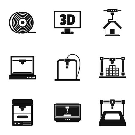 3d printer construct icon set. Simple set of 9 3d printer construct vector icons for web isolated on white background Illustration