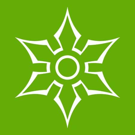 Ninja shuriken star weapon icon white isolated on green background. Vector illustration