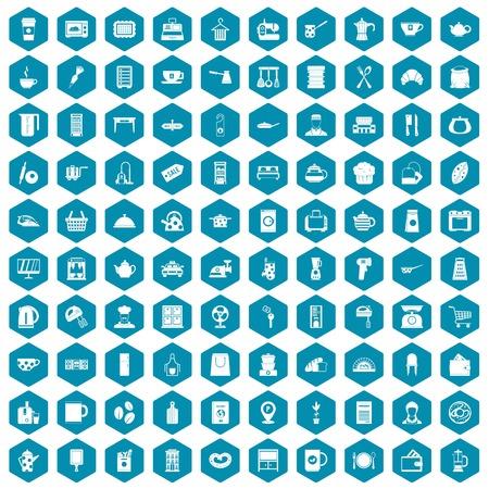 tack: 100 kitchen utensils icons set in sapphirine hexagon isolated vector illustration