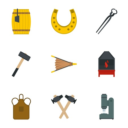 Blacksmith equipment icon set. Flat set of 9 blacksmith equipment vector icons for web isolated on white background Illustration