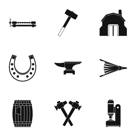 Industrial blacksmith icon set. Simple set of 9 industrial blacksmith vector icons for web isolated on white background Ilustração