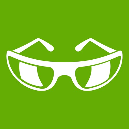 Sunglasses icon white isolated on green background. Vector illustration