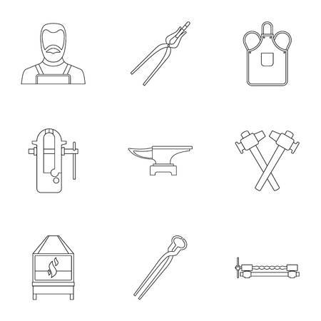 Blacksmith profession icon set. Outline set of 9 blacksmith profession vector icons for web isolated on white background