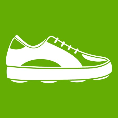 Golf shoe icon white isolated on green background. Vector illustration