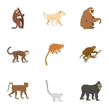 Tropical monkey icon set, flat style