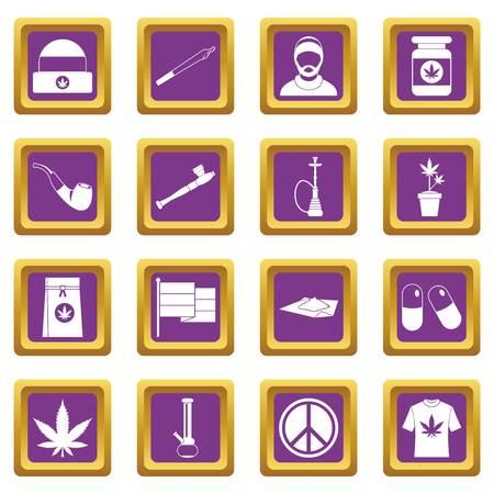 Rastafarian icons set purple
