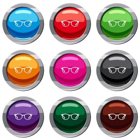 Glasses set 9 collection Vector Illustration