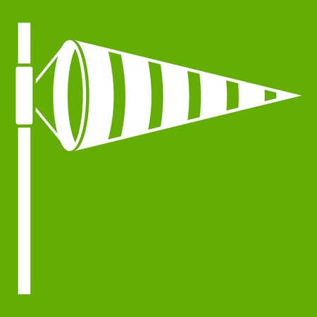 Meteorology windsock inflated by wind icon green Illustration