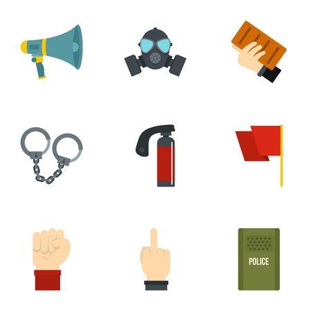 molotov: Revolt demonstrate icon set, flat style Illustration