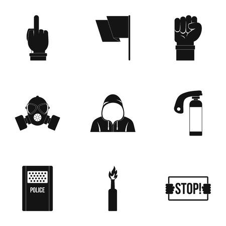 molotov: Rebel demonstration icon set, simple style