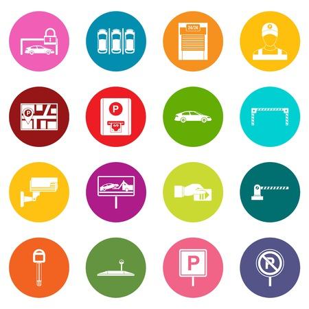Le icone di parcheggio dell'automobile molti colori hanno messo isolato su bianco per l'introduzione sul mercato digitale Archivio Fotografico - 84295274
