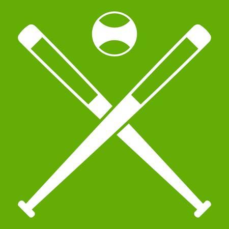 Crossed baseball bats and ball icon green Illustration