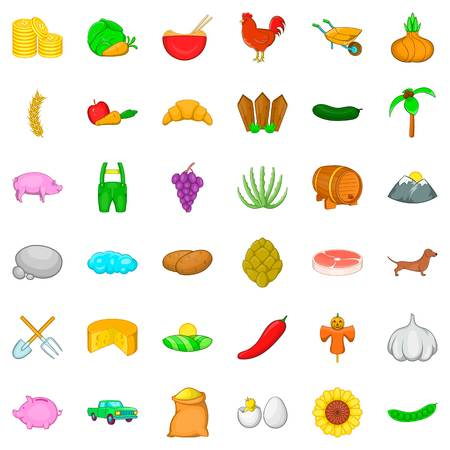 Agricultural icons set. Cartoon style of 36 agricultural vector icons for web isolated on white background