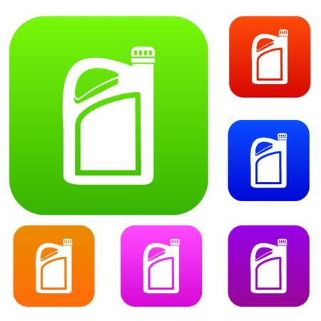 Jerrycan set icon in different colors isolated vector illustration. Premium collection Çizim