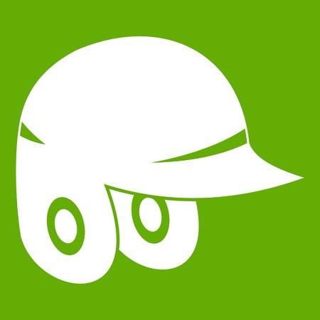 Baseball helmet icon white isolated on green background. Vector illustration