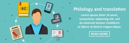 Philology and translation banner horizontal concept. Flat illustration of philology and translation banner horizontal vector concept for web Illustration