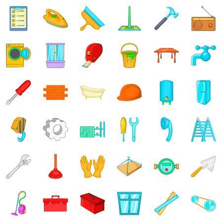 Apartment renovation icons set. Cartoon style of 36 apartment renovation vector icons for web isolated on white background