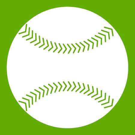 Baseball icon white isolated on green background. Vector illustration Illustration