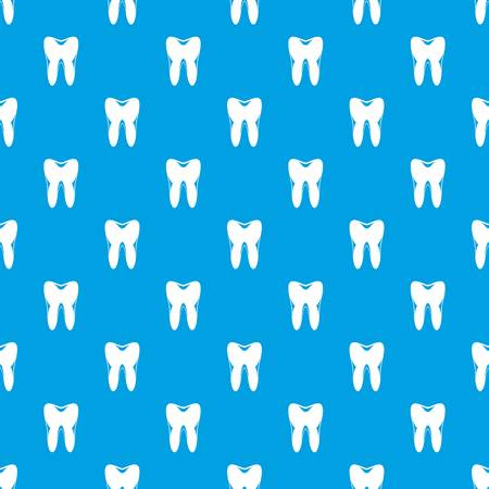Human tooth pattern repeat seamless in blue color for any design. Vector geometric illustration