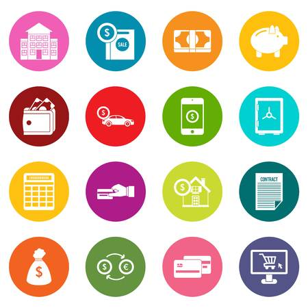 Credit icons many colors set isolated on white for digital marketing Illustration