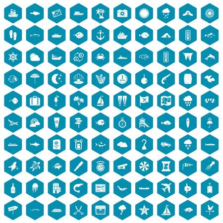 100 marine environment icons set in sapphirine hexagon isolated vector illustration