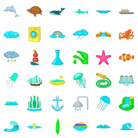 Aqua icons set. Cartoon style of 36 aqua vector icons for web isolated on white background Illustration