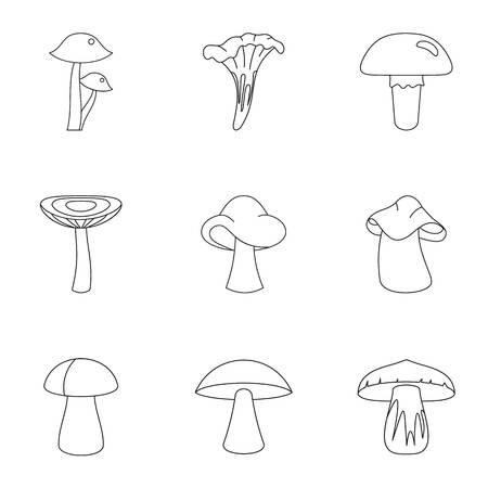 morel: Nature mushroom icon set. Outline set of 9 nature mushroom vector icons for web isolated on white background Illustration