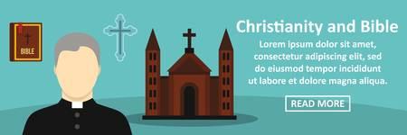 Christendom en bijbels horizontaal concept. Vlakke illustratie van christendom en van de bijbelbanner horizontaal vectorconcept voor Web
