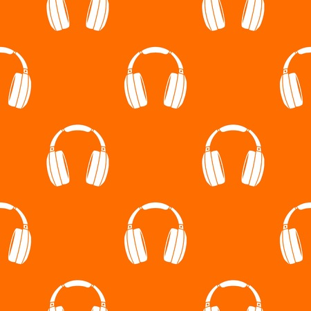portable audio: Headphones pattern repeat seamless in orange color for any design. Vector geometric illustration