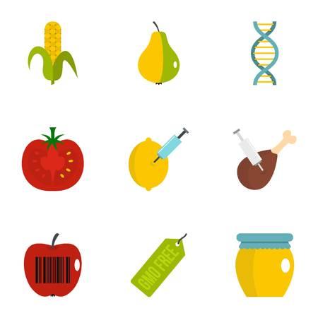 GMO laboratory icon set. Flat set of 9 GMO laboratory vector icons for web isolated on white background Illustration