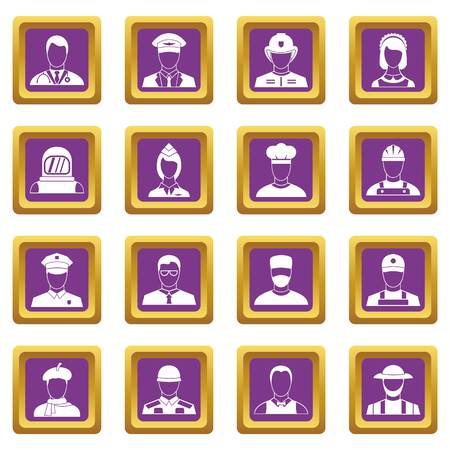 Professions icons set in purple color isolated vector illustration for web and any design Çizim