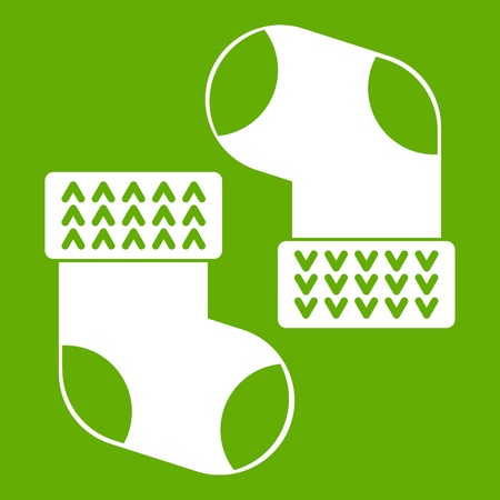 Baby socks icon white isolated on green background. Vector illustration