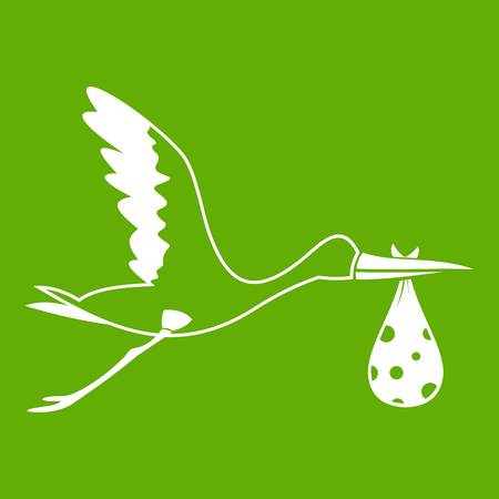 Stork carrying icon white isolated on green background. Vector illustration Illustration