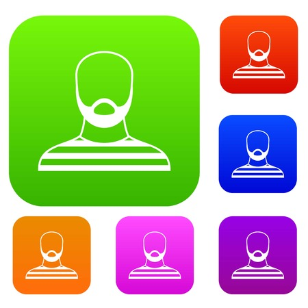detained: Bearded man in prison garb set icon in different colors isolated vector illustration. Premium collection